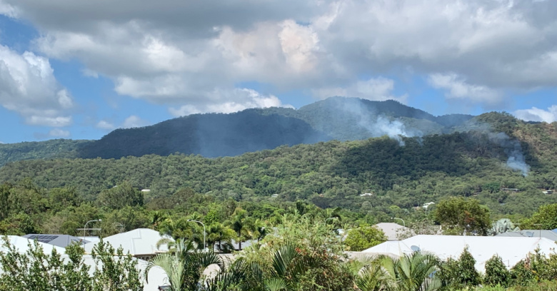 Smoke rising above Panguna Ridge north of Cairns during the recent wildfire event October 2020.