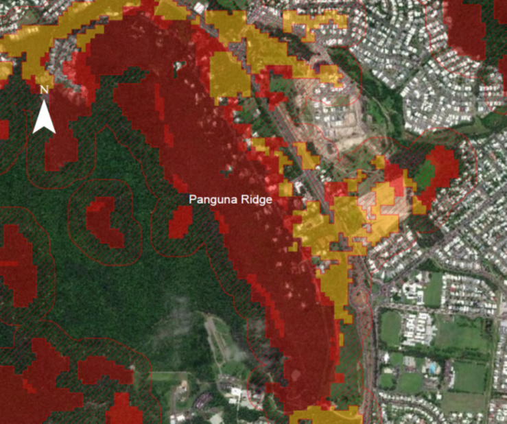 Bushfire Overlay Code Map showing fire rating for Panguna Ridge north of Cairns as 'Very High Potential Bushfire Risk